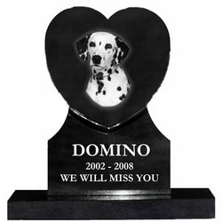 Etched Photo Heart Granite Pet Memorial
