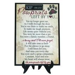 """Pawprints Left By You"" Plaque"