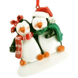 Engraved Penguin Couple Christmas Ornament