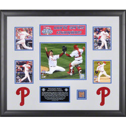 Philadelphia Phillies Framed 2008 World Series Collage with Dirt