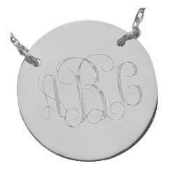 Sterling Silver Monogram Disk Necklace