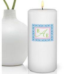 Personalized Damask Monogram Round Friendship Candle