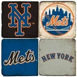 New York Mets Tumbled Italian Marble Coasters