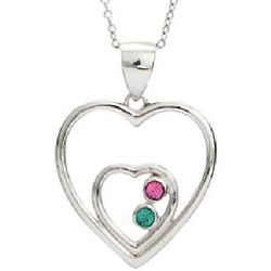 Two Hearts Austrian Crystal Couples Birthstone Pendant