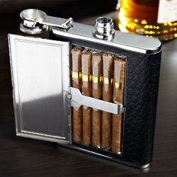 Textured Black Leather Cigar Flask