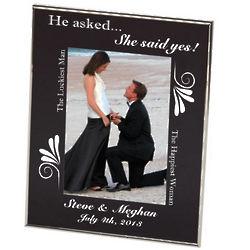 Engagement Black Floral Frame