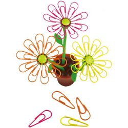 Desk Daisy Paperclip Holder with Paperclips