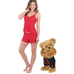 Huggable Hunk Teddy Bear and XS Red Seduction Short Set