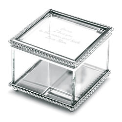 Personalized Glass Memory Box with Braided Metal Edge