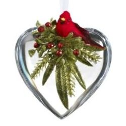 Red Cardinal Heart Christmas Ornament