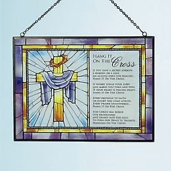 Hang It On The Cross 6x8 Stained Glass Art