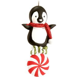 Personalized Penguin & Pinwheel Christmas Ornament