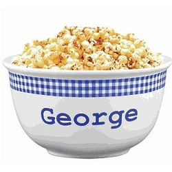 Personalized Blue Gingham Popcorn Bowl