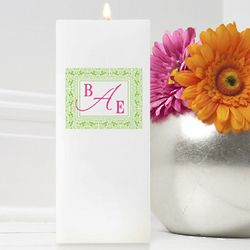 Personalized Damask Monogram Square Friendship Candle