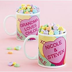 Personalized Conversation Hearts Mug with Candy