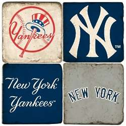 New York Yankees Tumbled Italian Marble Coasters