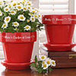Personalized Red Ceramic Flower Pot