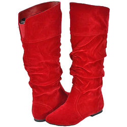 Red Velvet Slouchy Boots