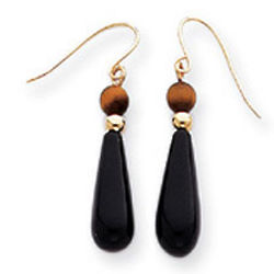 14K Yellow Gold Onyx and Tiger-Eye Drop Earrings