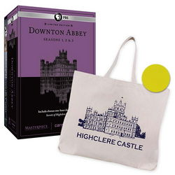 Downton Abbey Seasons 1-3 Blu-Ray DVDs with Highclere Tote Bag