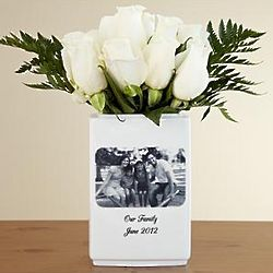 Small Black and White Personalized Ceramic Photo Vase