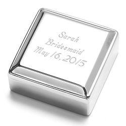 Personalized High-Polish Square Memory Jewelry Box