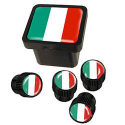 Italy or Germany Flag Hitch Plug and Valve Cap Set