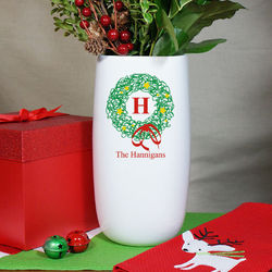 Personalized Ceramic Family Christmas Wreath Vase