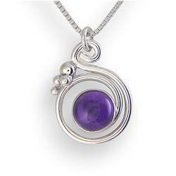 Amethyst Swirl Sterling Silver Pendant
