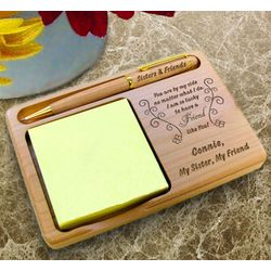 Personalized Butterfly Friend Wooden Notepad and Pen Holder