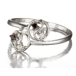 Double Ying Yang Promise Ring in 14k Gold