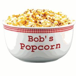 Personalized Red Gingham Popcorn Bowl