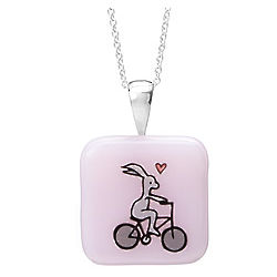 Bunny on Bike Glass Pendant