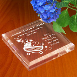Personalized Baby Carriage Paperweight
