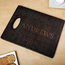 Classic Cut Black Bamboo Personalized Cutting Board