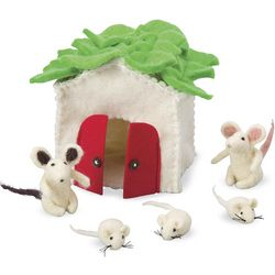 Mouse House Play Set with 5 Wool Felt Mice