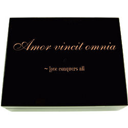 Personalized Amor Vincit Omnia - Love Conquers All Keepsake Box