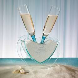 Coastal Toasting Glasses with Vase and Sand