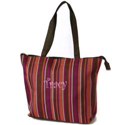 Striped Shoulder Tote Bag with a Zipper