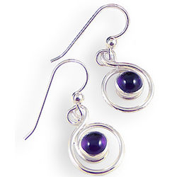 Amethyst Swirl Sterling Silver Earrings