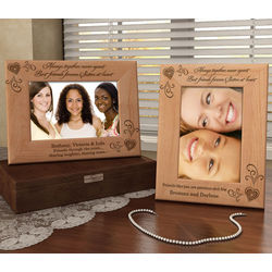 Personalized Sisters at Heart Wooden Picture Frame