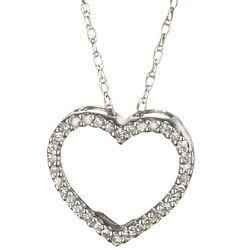 Open Diamond Heart Necklace in 14k Gold