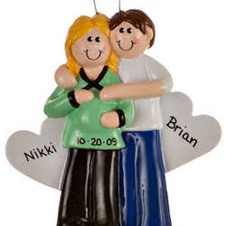 Personalized Pregnant Couple Ornament