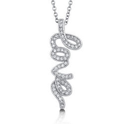 Cubic Zirconia and Sterling Silver Love Pendant
