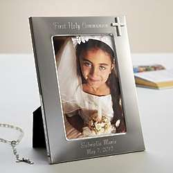 Personalized Silver Frame with Cross