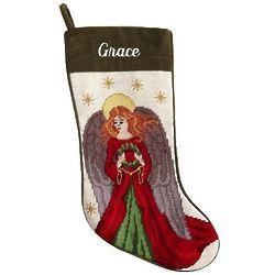 Personalized Angel Needlepoint Stocking