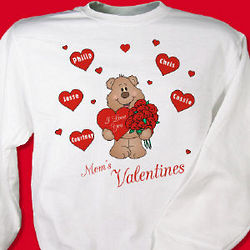 Personalized Valentine Love Teddy Bear Sweatshirt