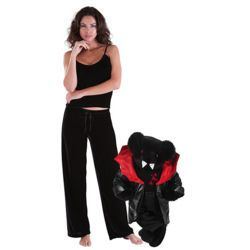 Love at First Bite Teddy Bear and Black Velour Lounge Pajamas