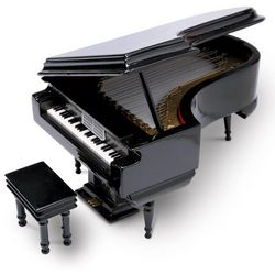 High-Gloss Black Piano Music Box