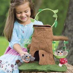Felt Tree Stump Cottage Carrier with Owls
